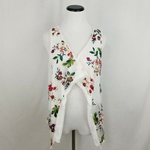 Lola White Floral Embroidered Vest Open Cardigan